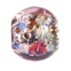 Glass Lamp Bead 8mm Round Amethyst/Rose
